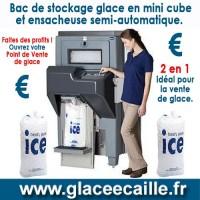 BAC DE STOCKAGE GLACE CUBE AVEC ENSACHEUR SEMI AUTOMATIQUE