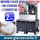 Machine à glace écaille 400kg/24h avec Chariots et stockage 300 kg