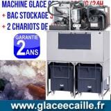 Machine à glace grain 1000kg/24h avec stockage 1000 kg et chariots