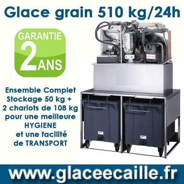 Machine à glace grain 510 avec STOCKAGE 50 KILO ET CHARIOTS DE TRANSPORT