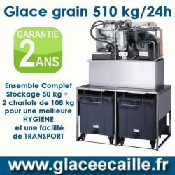 Machine à glace grain 510 avec STOCKAGE 300 KILO ET CHARIOTS DE TRANSPORT