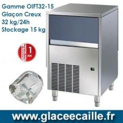 Machine à glaçons creux 32kg/24h ODYSSEE avec stockage 15 kg