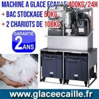 Machine à glace écaille 400kg/24h avec Chariots et stockage 50 kg