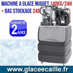 Machine à glaçons nuggets 140 kg/24het stockage 240 kg