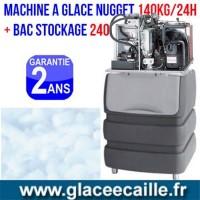Machine à glaçons nuggets 140 kg/24h avec bac de stockage 240 kg