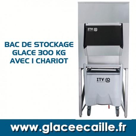 BAC DE STOCKAGE GLACE 300 KG AVEC CHARIOT