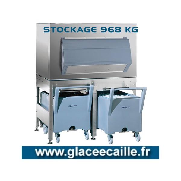 BAC DE STOCKAGE 968 KG SUR BASE AVEC 2 CHARIOTS